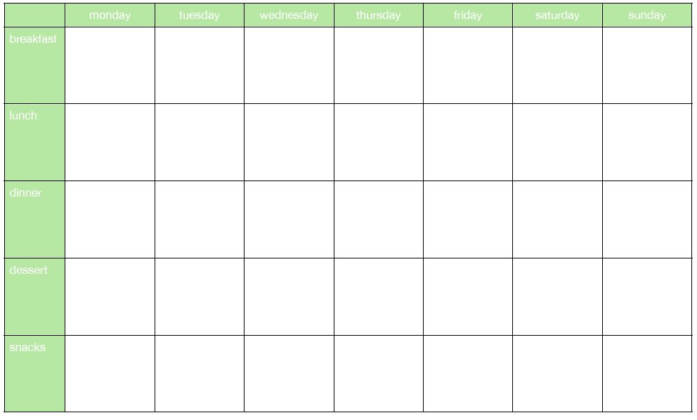 weekly meal planning sheets